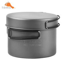 TOAKS Titanium Pot Frying Pan titanium cookware Set With Foldable Handle Outdoor Tableware Camping Pot Pan CKW-1300(China)