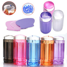 1set Clear Jelly Stamper 2.8cm Transparent Nail Stamping Stamp Scraper Polish Print Transfer Nail Stamper Tool 9 color options