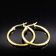 2018 Fashion Round Stainless Steel Small Hoop Earrings for Women Gold Color Earrings For Women Jewelry pendientes aros E612153(China)