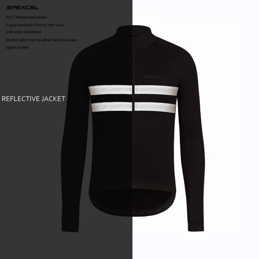 SPEXCEL top quality 0 degree Reflective Winter Windproof Cycling Jacket Winter thermal fleece soft shell Cycling clothing black<br>