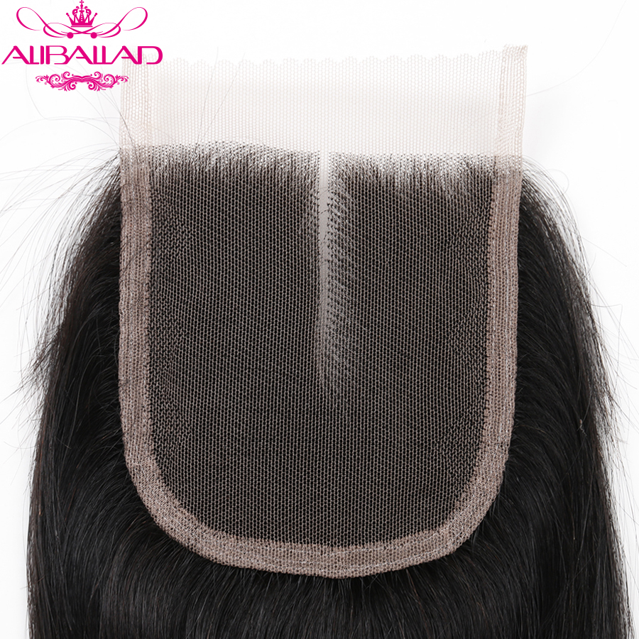 Aliballad Brazilian Straight Middle Part 4x4 Lace Closure 10-20 Inch Non-Remy Hair Natural Color 100% Human Hair Free Shipping3