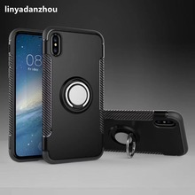 New Car Holder Case for iPhone 8 Ring 360 Degree Rotation Kickstand Hybrid Shockproof Phone Case for iPhone8 Cover(China)