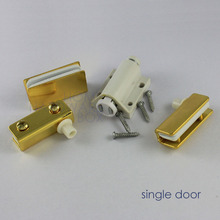 "golden brass glass pivot door hinges clamps with strike plate chrome 1/4"" thickness 8mm"
