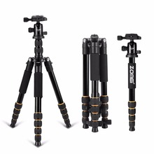 Zomei Q666 Lightweight Tripod For DSLR Camera Ball Head Monopod Tripod Compact Travel Camera Stand For digital SLR DSLR camera(China)