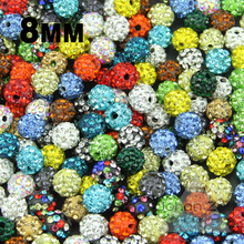 JHNBY High quality 8MM 20pcs Loose beads Clay Disco Ball Pave Crystal Shamballa Beads Jewelry necklace bracelets Making DIY()