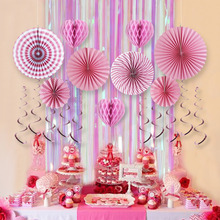 6pcs Pink Vanlentine Party Decorations Set Rainbow Curtains/Honeyomb Heart/Paper Fan/Swirl Decorations Birthday Shower Wedding(China)