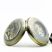 20pcs/lot DHL PJX1165 High Quality Classic Bronze Train Mechanical Pocket Watch Skeleton Men's Pocket Watch