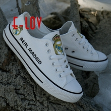 2017 New arrived fans club print canvas shoes logo white low top graffiti leisure shoes football logo customization shoes boys