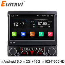 Euanvi Quad Core 2G RAM 1 Din Android 6.0 Car DVD Player Radio Stereo Universal with GPS Navi Bluetooth Multimedia System 4G(China)