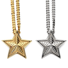 Women Mens Golden Steel Necklaces Pendants Bling Iced out Five STARS Hip Hop Jewelry Gifts Judaism Jewish Chains(China)