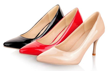 Women Patent PU Leather Party Prom Dress Pump High Heel Pointed Toe Stiletto Shoes Classic Black Red Beige Sexy Wedding Shoes