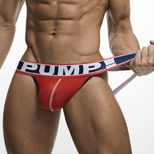 Buy New Arrival Brand Men Underwear Jocks Penis PUMP Jockstrap G-strings Men thong Sexy cuecas Male panties Briefs Gay men underwear