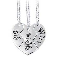 "Special Present Lettering ""Big Middle Little"" Heart Shape Three Parts Splice Necklace Lovers Couple Necklace Jewelry"