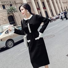 Women Knitted 2 Piece Set 2019 Autumn Winter Black Knitting Bow Long Sleeve Beading Pearl Sweater + Skirt Suits(China)