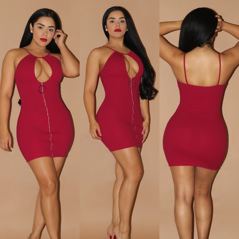 New 2017 Sleeveless Strap Dress Women Autumn Sexy Hollow Out Zippers Bodycon Mini Dresses Night Club Fashion Party Dress Female