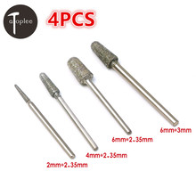 Hot 4PCS 2/4/6mm Diamond Bullet Grinding Head Emery 2.35mm/3mm Shank Ratary Dremel Drilling Carving Grinding Head tools(China)