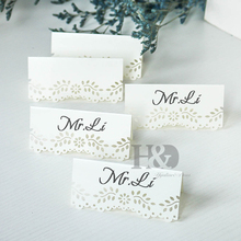 H&D Vintage Mini White Laser Hollow Floral Place Name Card Table Number for Wedding Event Party Valentine Day Wedding Decor
