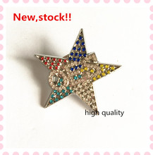 Trend new Eastern Star brooch high quality fraternity sorority OES rhinestone lapel pin accept customized,1pcs,OGB021(China)