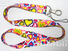 Girls Colour Heart Pattern Phone Key Lanyard Badge Hearts Painting Mobile Neck Straps