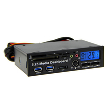 5.25 LCD Display Media Multi Function Dashboard Internal Card Reader USB HUB ESATA SATA with Speaker/Microphone QJY99
