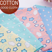 6PCS Cotton Fabric Baby Kindergarten Version of the Moon and Stars Pattern Cotton Cloth Cartoon DIY 20x25CM Clothing wholesale