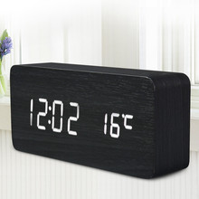 Wooden LED Alarm Clock with Old Style Temperature Sounds Control Calendar LED Display Electronic Desktop Digital Table Clocks(China)