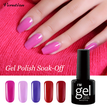 Verntion 8ml lucky Coating UV Lamp Nail Polish LED Gel Varnish 24Color 8ML Nail Art Polish Set Lamp Cheap Gel Lacquer