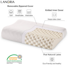LANGRIA Neck Pillow Medium Feel Contoured Dunlop Natural Bedding Bedroom Natural Latex Pillow Cervical Orthopedic Healthy Pillow(China)