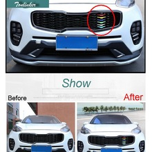 Tonlinker Cover Case Stickers for Kia Sportage QL 2016-17 KX5 2.0L 1 PCS Car Styling ABS six color front racing grills sticker
