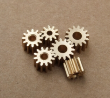 10 pcs/lot 2.3 MM Pore 12 Tooth Brass Motor Shaft Gear DIY Toys Parts Free Shipping Russia