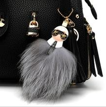 Buy Luxury brand Karl face tassel fur pompom stainless steel keychain key chain ring charm women bag puppe golf cart bag pendant for $2.98 in AliExpress store