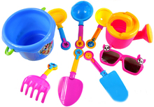 9pcs/set Baby Kids Sandy Beach Toy Set Dredging Tool Beach Bucket Sunglass Baby Playing With Sand Water Toys For Children#E