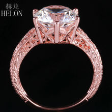 HELON Solid 10K Rose Gold Jewelry Women's Engagement Wedding Vintage Antique Ring 10mm Round AAA Graded Cubic Zirconia Ring