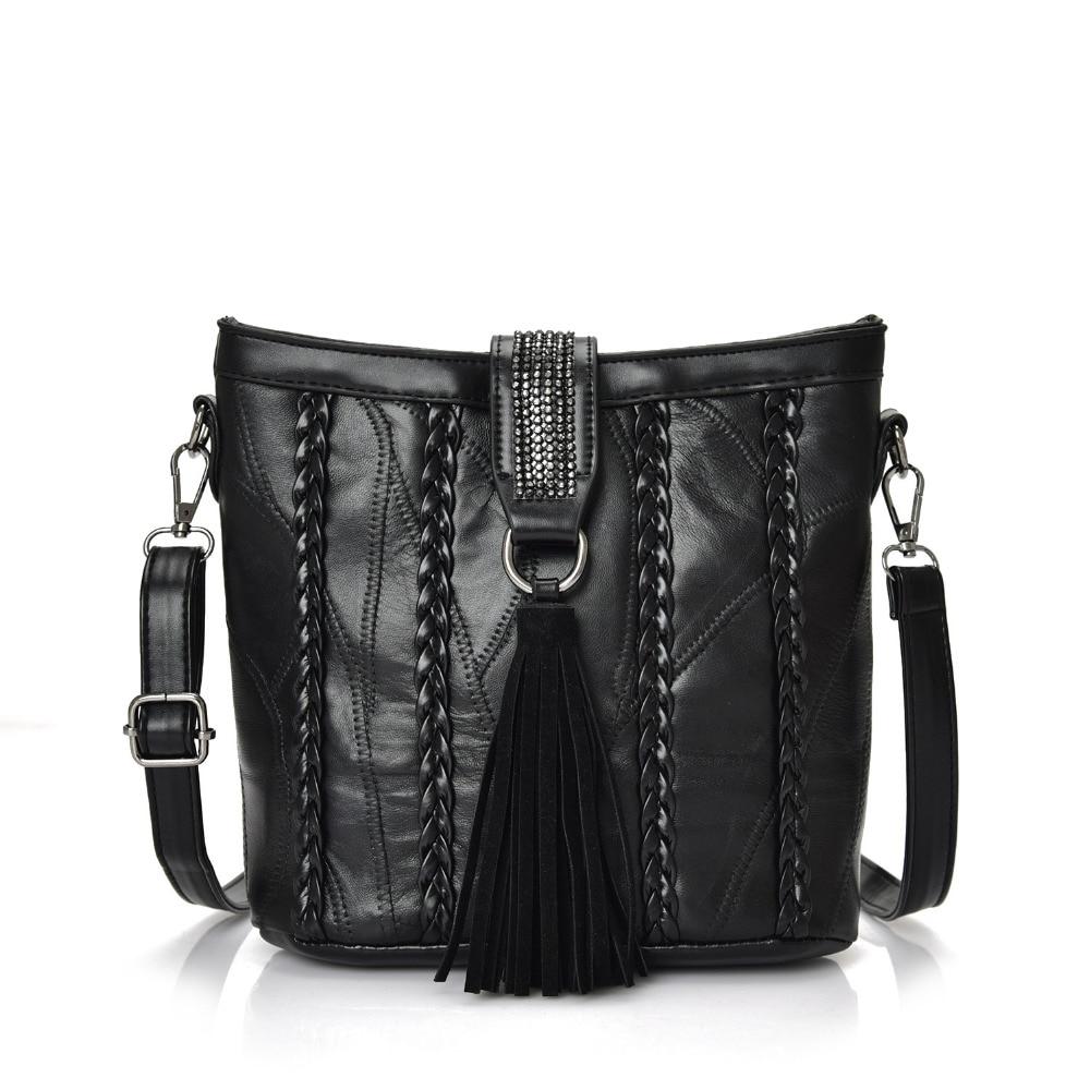 Fashion Women Messenger Bags Vintage Rivet High Quality Genuine Sheepskin Leather Bag Ladies Shoulder Crossbody Bags For Women<br><br>Aliexpress