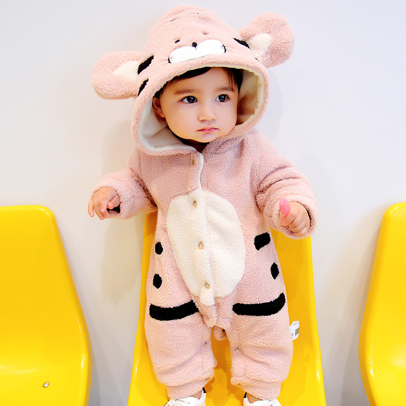 Winter baby romper cute cartoon animal rabbit design outfit clothes set age 0-18m christmas baby clothes baby thick warm romper<br>