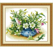 Embroidery Package Hot Sell Best Quality Cross Stitch Kits Fresh Lily Perfume Flower Free Shipping(China)