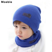 Moeble Casual Hedging Crochet Child Hat Warm Letter Knitted Kids Hats For Unisex Solid Baby Winter Caps + Scarf Suits H346(China)