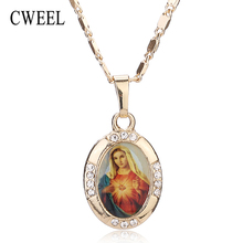 Women Men Cross Jesus Necklace Beads Jewelry Trendy Gold Color Pendant For Vintage New Statement Holiday Accessories(China)