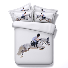 Horse animal 3d printed duvet cover sets queen super king single twin size white racing sports comforter bedding sheet