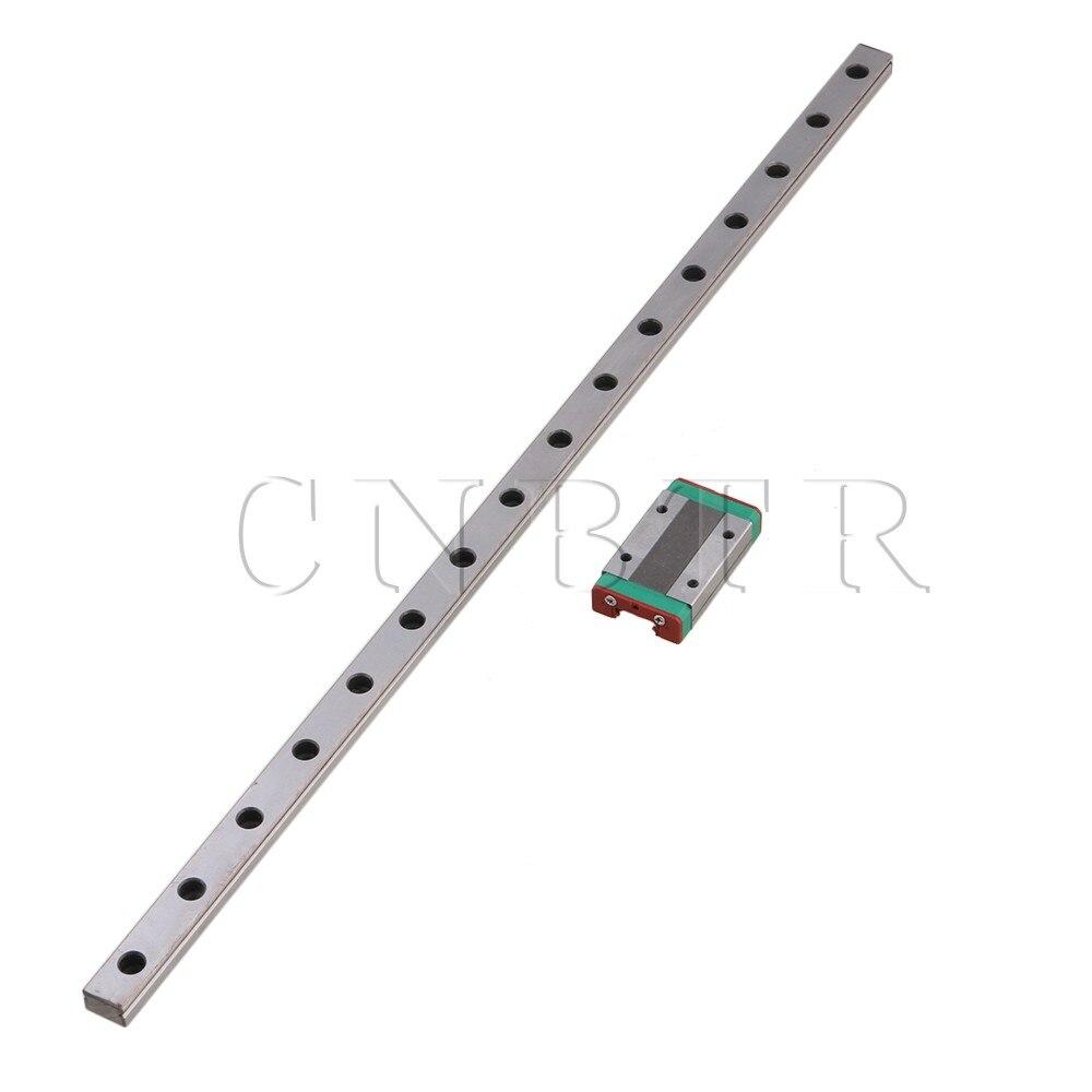CNBTR 400mm MGN12 Bearing Steel Linear Slide Guide Rail &amp; MGN12H Extension Sliding Block for Precision Measurement Equipment Set<br>