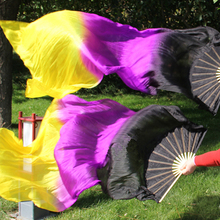 New 1pair/2pcs 100% real silk belly dance Fan Veils Chinese Bamboo gradient color 180cm long Fans Veil high quality HOT