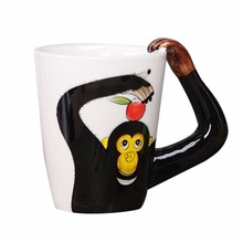 3D Hand Printed Lovely Animal Chimpanzee Mugs Cute Ceramic Cups Coffee Tea Juice Milk Water Drinking Cup Large Capacity Gift(China)