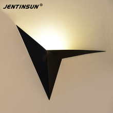 Black White Iron Triangle Wall Lamp Nordic Simple Creative Maple Leaf Mounted LED Sconce Light Bedroom Bedside Study Hotel Room