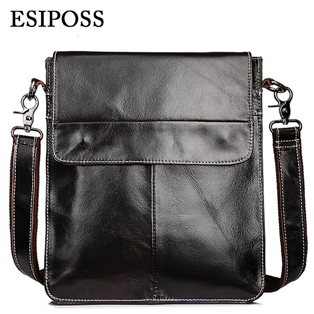 ESIPOSS Genuine Cowhide Leather Bags Casual Men Crossbody Bag Mens Travel Bags Black Soft Flap Briefcase Messenger Bags for Man<br><br>Aliexpress