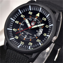 XINEW Fluorescence Mens Military Quartz Army Watch Steel Dial Canvas Strap Date Fashion Sport Wrist Watches Men Casual Watch