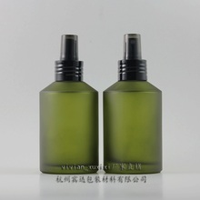 20pcs 200ml round green frosted refillable perfume bottle with black aluminium atomiser spray, 200ml glass perfume packaging
