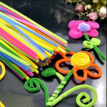100pcs Montessori Materials Chenille Children Plush Educational Toy Crafts Colorful Pipe Cleaner Toys Handmade DIY Craft(China)