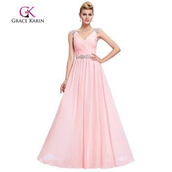 Grace karin rosado elegante vestido de noche de la correa de espagueti profunda v cuello Partido Prom Vestidos Con Cuentas Vestidos Formales Robe De Soirée Longue