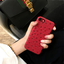 Hot Ostrich Skin Leather Case for iphone 7 7Plus Hard Hipster Back Cover for iphone 6 6s 6Plus 6sPlus From Ludi