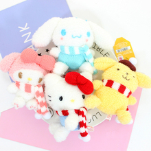 AIBOULLY 10cm winter scarf series plush pendant Red Scarf Hello Kitty / Pink Scarf My Melody / Blue scarf big ear dog doll(China)
